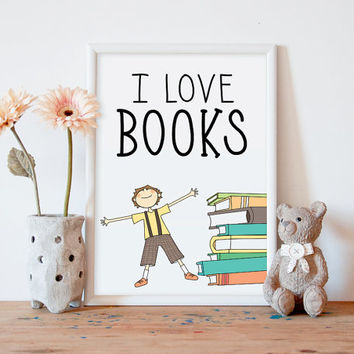kids wall art, boys wall art, boys room decor, i love books, printable wall decor, boys room art, boys wall decor, reading, kids art