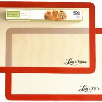 """Silicone Baking Mats, 2-Pc Half Sheets (16.5""""x11.6""""), by Ludy's Kitchen"""