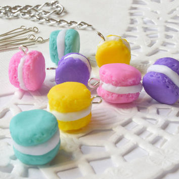 Clay macaroon beads-8 pcs-miniature beads-foods bead-polymer clay beads-bead supplies-jewelry making-ceramic jewelry-pastel colorfull-