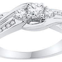 10k White Gold Womens Round 3-stone Diamond Bridal Wedding Engagement Ring 1/2 Cttw 108826