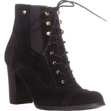 Tommy Hilfiger Felecia Casual Ankle Boots, Black Multi Suede, 8.5 US