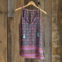 Cute  Tunics:  Medium  Dark  Blue  Sleeveless  Tassel  Tunic  From  Natural  Life