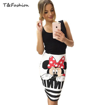 Summer Short Skirt for Women 2016 All Fit Cartoon Print Skirt White Black Color Women Clothing Short Pencil Skirts