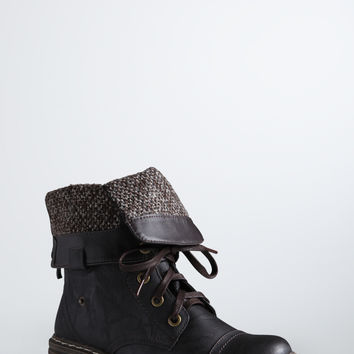 Fold Over Combat Boots (Wide Width)