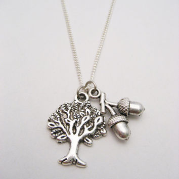 Oak Tree Necklace Oak Tree Jewelry Acorn  Necklace Womans Gifts Under 20 Nature Lovers Gift
