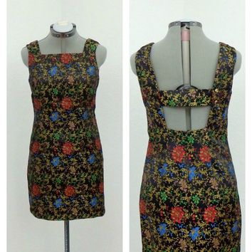 Vintage 90s Black Chinese Brocade Floral Dress, Short Fitted Sheath Dress, Sleeveless, Low Back, Mini Dress, Party Dress, Cocktail Dress