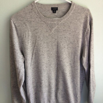lightweight white speckled chambray jcrew crewneck sweater