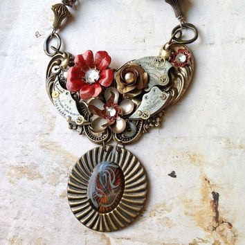 Steampunk Flower Necklace Vintage Tribal Brass by bionicunicorn