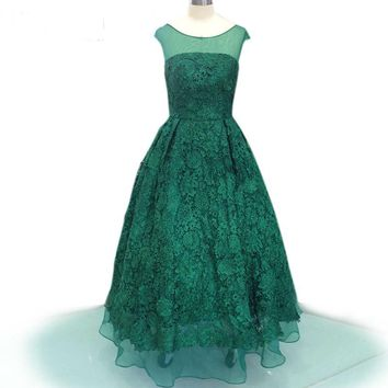 Green Lace Embroidery Evening Dress Short Sleeve Scoop Neck Long