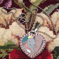 Disney's Dumbo and His Mother Silver With Pink Rhinestones Heart Shaped Dog Tag Necklace