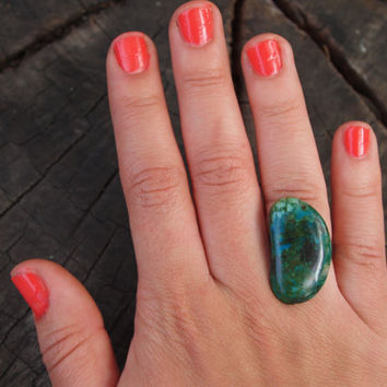 Raw Turquoise Slice Ring