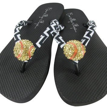 Chevron Black Softball Bling Rhinestone Flip Flops
