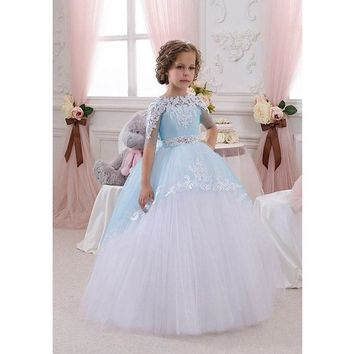 2016 Flower Girl Dresses Holy Communion Dress Kids Evening Gowns Pageant For Weddings Girls Glitz Ball gowns Ritzee Lace