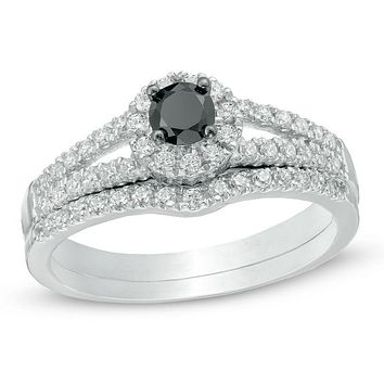 1/2 CT. Black and White Diamond Split Shank Bridal Engagement Ring Set in 14K White Gold