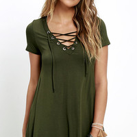 Wonderland Olive Green Lace-Up Swing Dress