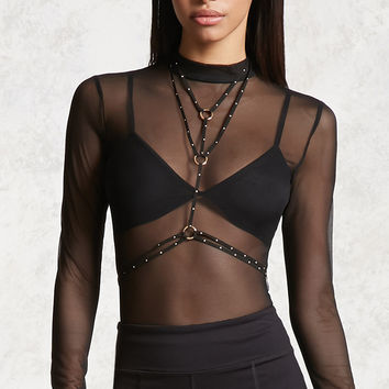 Mesh Mock Neck Bodysuit