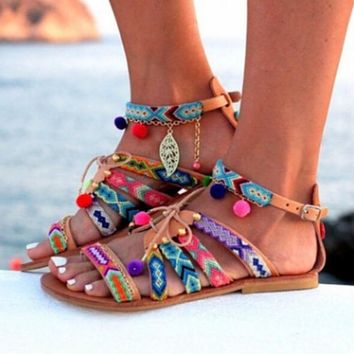 Plush size Bohemia beach summer sandals women shoes fish mouth colourful Rome Casual flat gladiator ladies sandals NBT1001