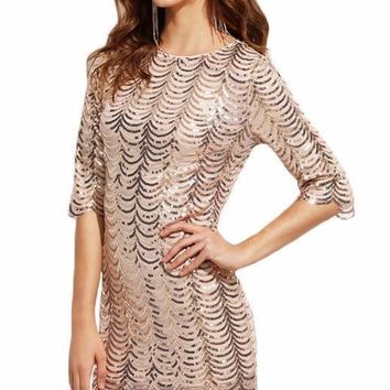 SheIn Sexy Dress Club Wear Woman Party Dresses Autumn Gold Scallop Sequin Round Neck Half Sleeve Bodycon Mini Dress