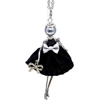 Hot Sale!! Cute Yarn Cloth Bowknot Dress Doll Necklace Women Jewelry stores Christmas Gifts Jewelry Accessories NS05904