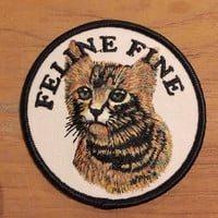"Feline Fine Cat Embroidered Patch 3"" kitten cute kitty sad"