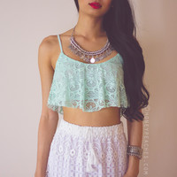 Minty-Licious Frill Lace Crop Top