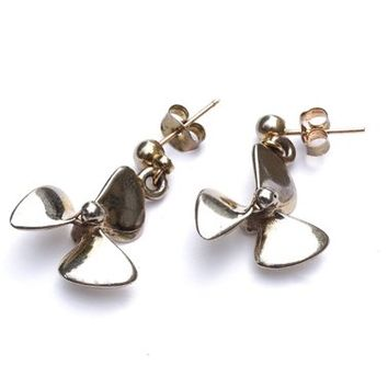 Silver Propeller Earrings, Sterling Charm Danglers on Silvertone Post Studs, Titanic Rotary Propeller Blade, Ship Part Assemblage Jewelry