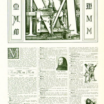 1948 Letter M French Dictionary Alphabet Ornamental letter Framing scrapbooking home decor wall art