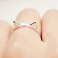 925 Sterling Silver Cat ring,silver cute cat ears ring