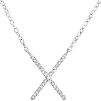 10kt White Gold Womens Round Diamond Letter X Cross Pendant Necklace 1/10 Cttw