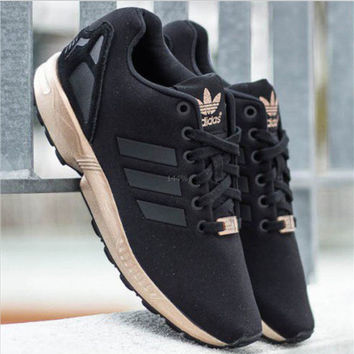 huge selection of cc8f8 d423b ADIDAS ZX Flux Women Running Sport Casual Shoes Sneakers Black golden