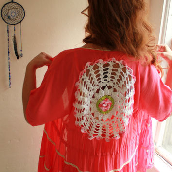 Flower Crochet Cut Out Back Salmon Pink by MountainGirlClothing