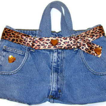 Denim Purse - Wild Leopard- OOAK