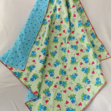 Frogs and Hearts Flannel Receiving or Swaddling Blanket, Double Layer, 2 Layer Serged Blanket, New Design, Crib or Stroller Blanket