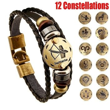 New Style 12 Constellations Multi-layer Leather Cuff Chain Lucky Charm Bracelet Fashion Jewelry for Women and Men Bronze Alloy B