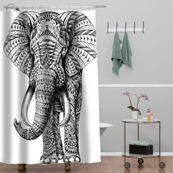 elephant ornate Custom Shower curtain decorative shower curtain size 36x72,48x72,60x72,66x72