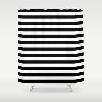 Shower Curtain - Black and White Stripes - Housewarming Gift - Glamour Decor - Bathroom Shower Curtain