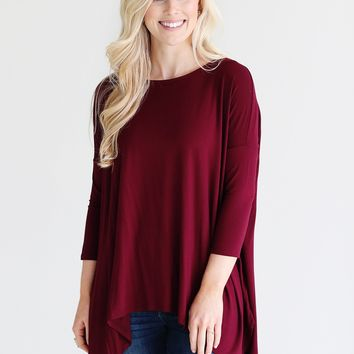 Burgundy PIKO Handkerchief Top