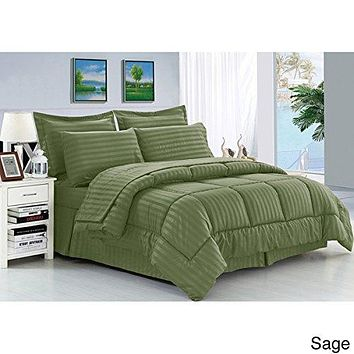 Cozy Home Down Alternative 5 Piece Embossed Comforter Set - Sage (King)
