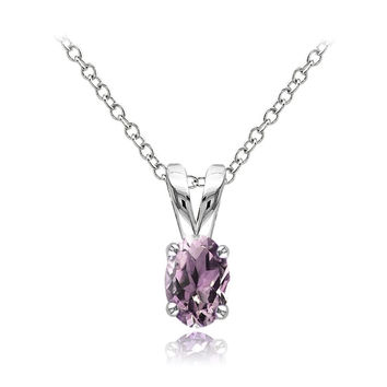 925 Sterling Silver Alexandrite CZ 6x4mm Oval Solitaire Necklace