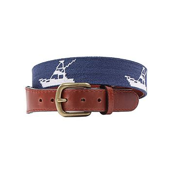 Vineyard Vines Sport Fishing Needlepoint Belt in Navy by Smathers & Branson