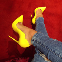 Lola Yellow Patent Leather Pumps
