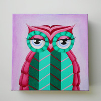 Original acrylic painting, colorful owl painting with purple, red and green, 8 x 8 canvas