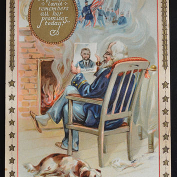 Raphael Tuck & Sons Series Decoration Patriotic Postcard with Man and Dog