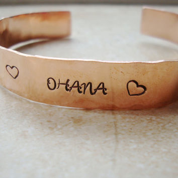 Ohana copper hammered handstamped cuff hawaiian for family