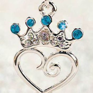 Girl's Birthstone Princess Crown Necklace Scrolled Heart Jewelry Box