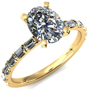 Judie Oval Moissanite 4 V-Prong 1/2 Micropavé Baguette Diamond Accent Engagement Ring