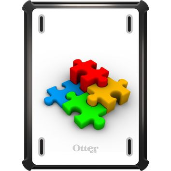 DistinctInk™ OtterBox Defender Series Case for Apple iPad - Red Blue Yellow 3D Puzzle Pieces