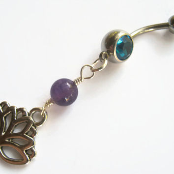 Lotus Flower Belly Ring, Amethyst Belly Button Ring, Buddhist Piercing, Yoga Body Jewelry, Personalized Birthstone Belly Ring