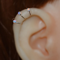 Silver Tragus Earring 2.5mm Opal - Nose Ring Stud - Cartilage Hoop Earring - Helix Piercing - 22g Rook Hoop - Septum Ring 22 gauge