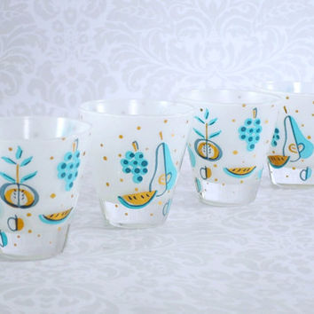 Shot Glasses Barware Set of 4 Mid Century George Briard  - Vintage Frosted Turquoise Shot Glass Set